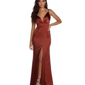 Satin dress.